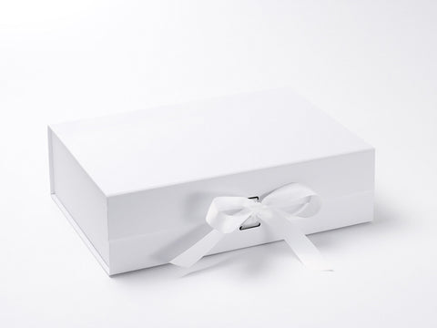 A4 Deep White Luxury Gift box with magnetic closure, and choice of ribbon (Pack of 12)