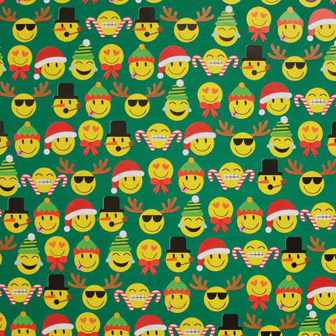 Emoji in Green Christmas Novelty Counter Roll (100m x 50cm)