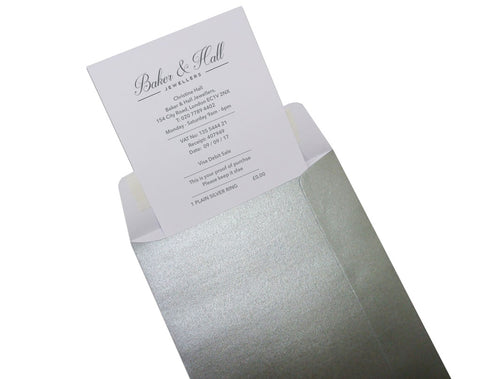 Luxury Receipt Wallets, Silver (Pack 100)