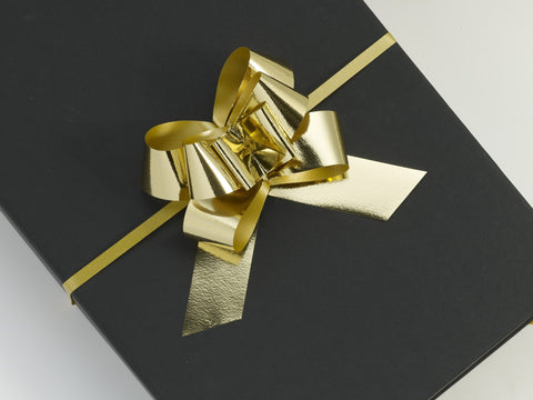 Metallic Gold Large Pull Bows (100)