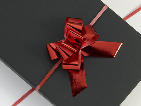 Metallic Red Large Pull Bows (100)