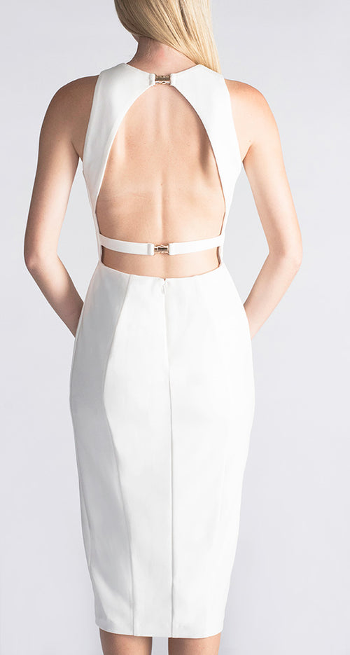 WHITE DRESS PARTY DRESS OCCASION DRESS MIDI DRESS EVENING DRESS DESIGNER DRESS DAY WEAR COCKTAIL DRESS  DUALIPA, KENDALL JENNER, DUA LIPA, gigi hadid, bella hadid, David jones, Myer, Iconic, moda operandi, ounass, saks fifth avenue,