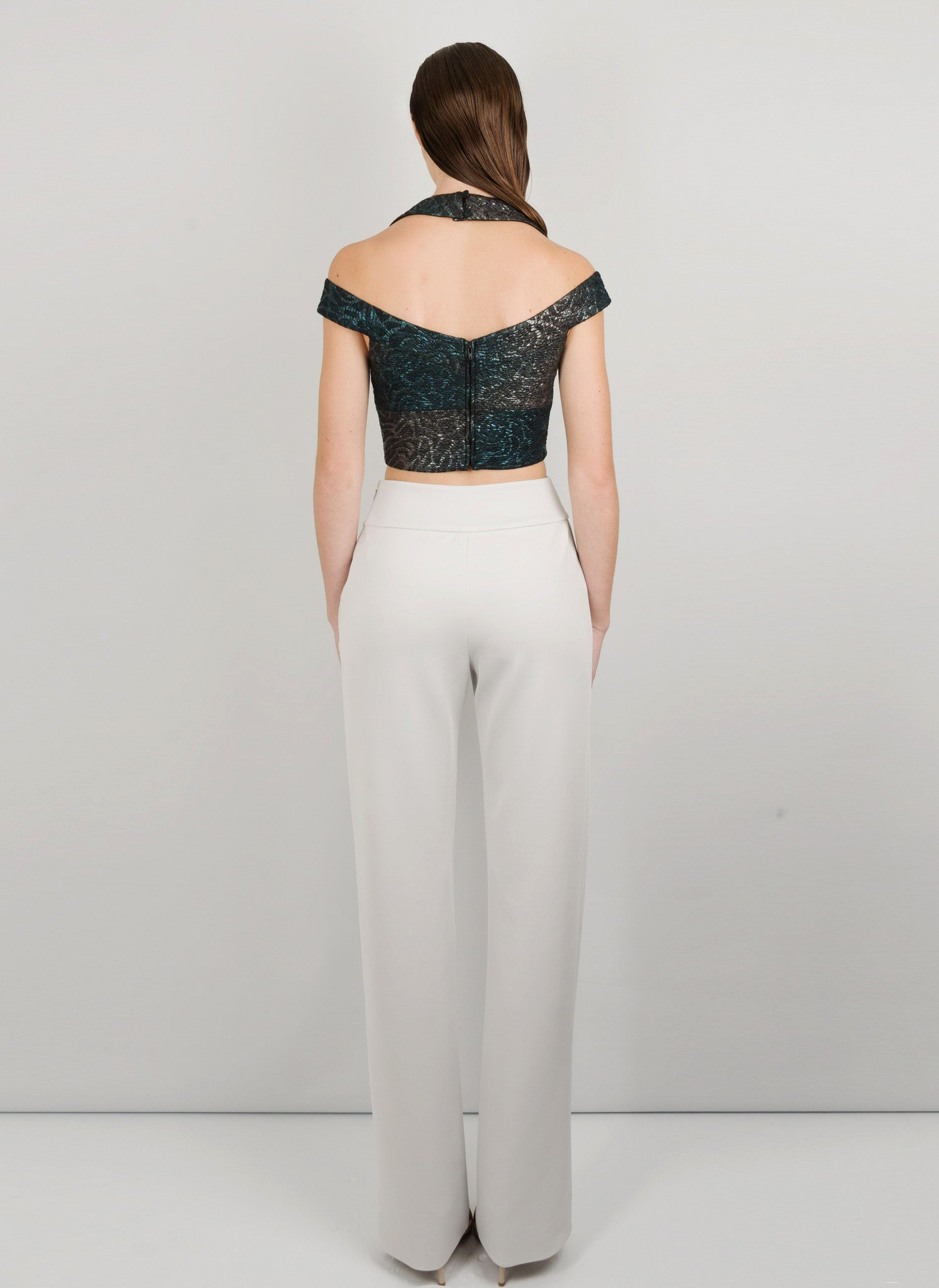 MADOLA-THE-LABEL - ALANA CROP TOP. Luxurious fabric which hugs the body, attached cups. Designed in Australia.
