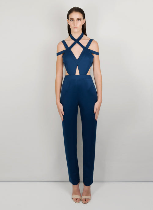 MADOLA-THE-LABEL - YASMIN JUMPSUIT. Attached cups and side and front cut-outs, V neckline. Designed in Australia