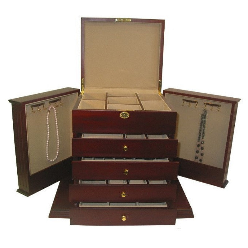 Cambridge Five Drawer Wooden Jewellery Box Cherry 45cm Open PTJB050A