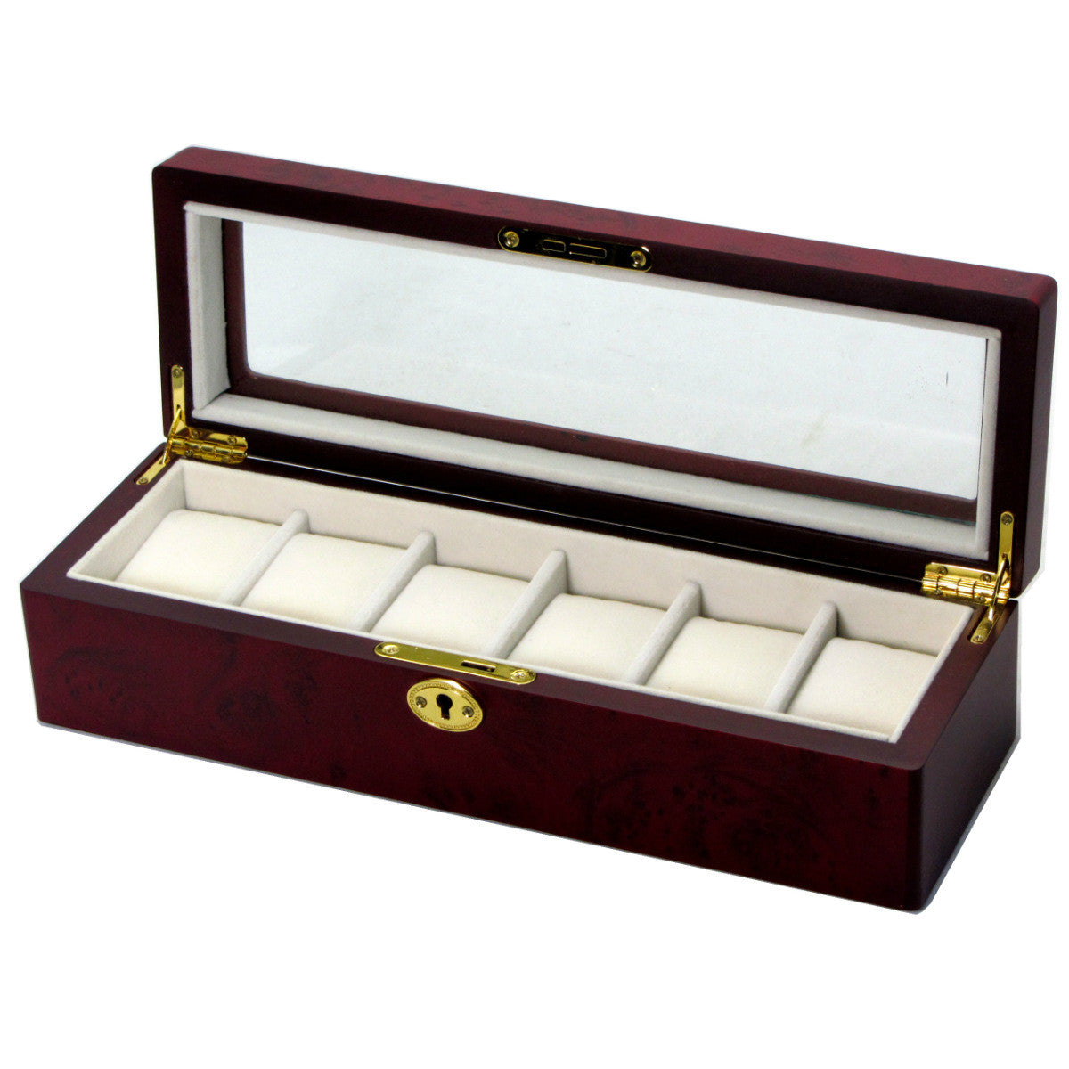 Pearl Time 6 Watch Box Glass Lid, Cherrywood, 34cm
