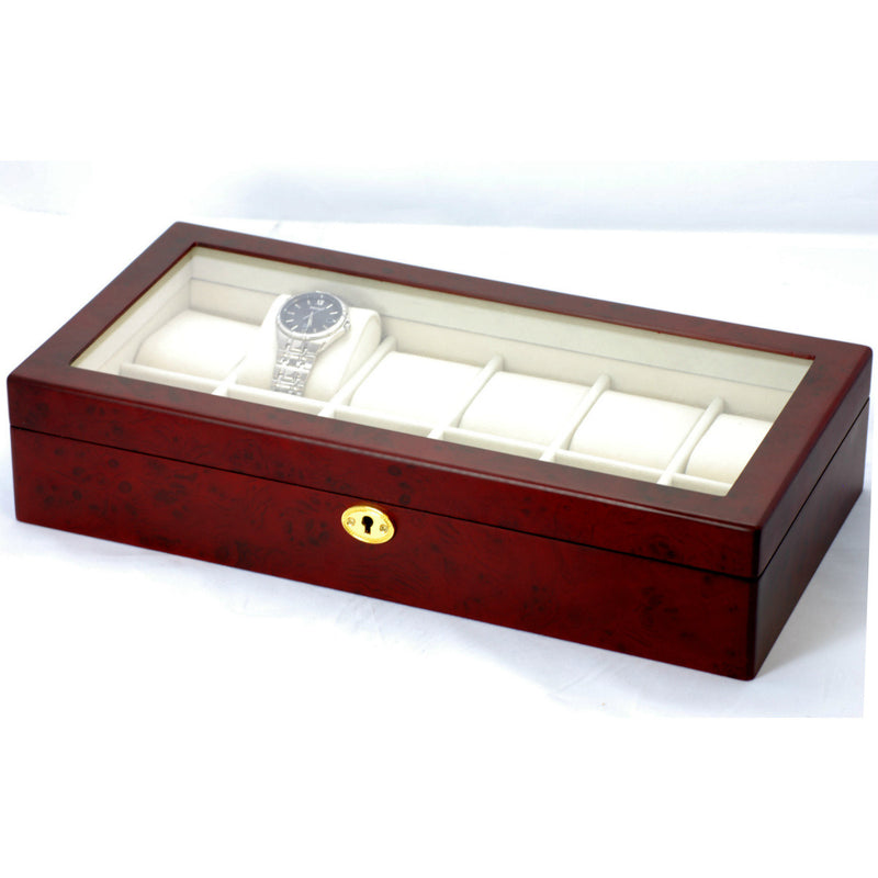 Pearl Time 12 Watch Box Glass Lid Matt Cherrywood 39cm Open PWB12CHE