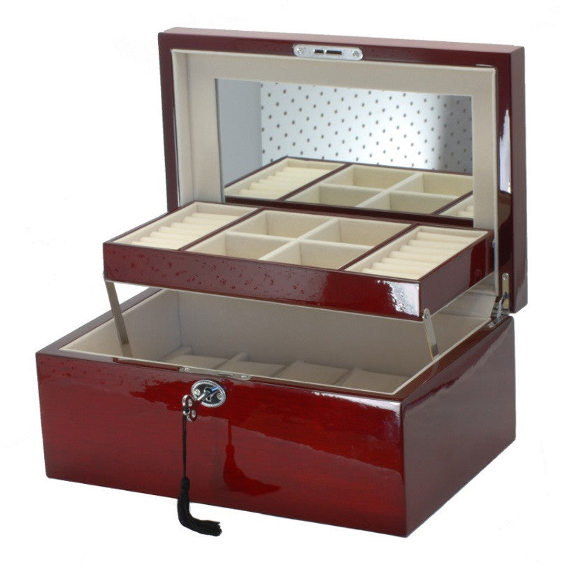 Pearl Time Jewellery And Watch Box, Cherry Tone Finish, 30cm