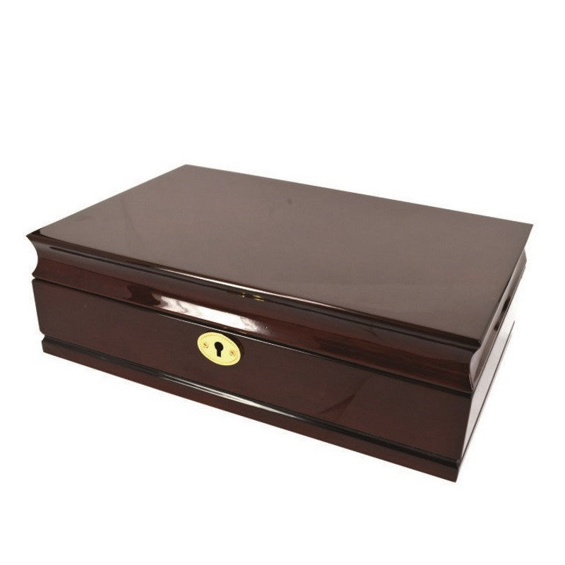 Pearl Time Jewellery Box Beige Interior, Gloss Walnut Finish, 28cm