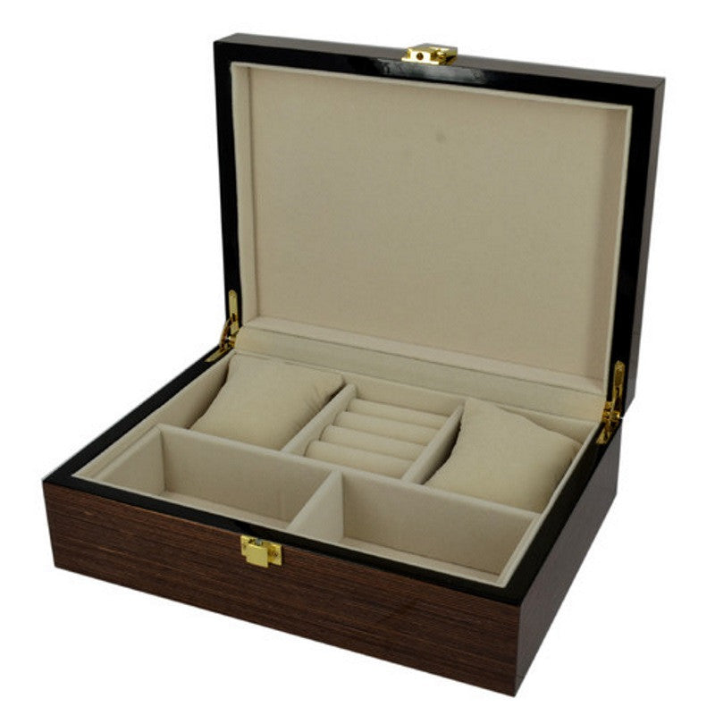 Pearl Time Jewellery Box Cream Interior, Satin Burgundy Finish, 25cm