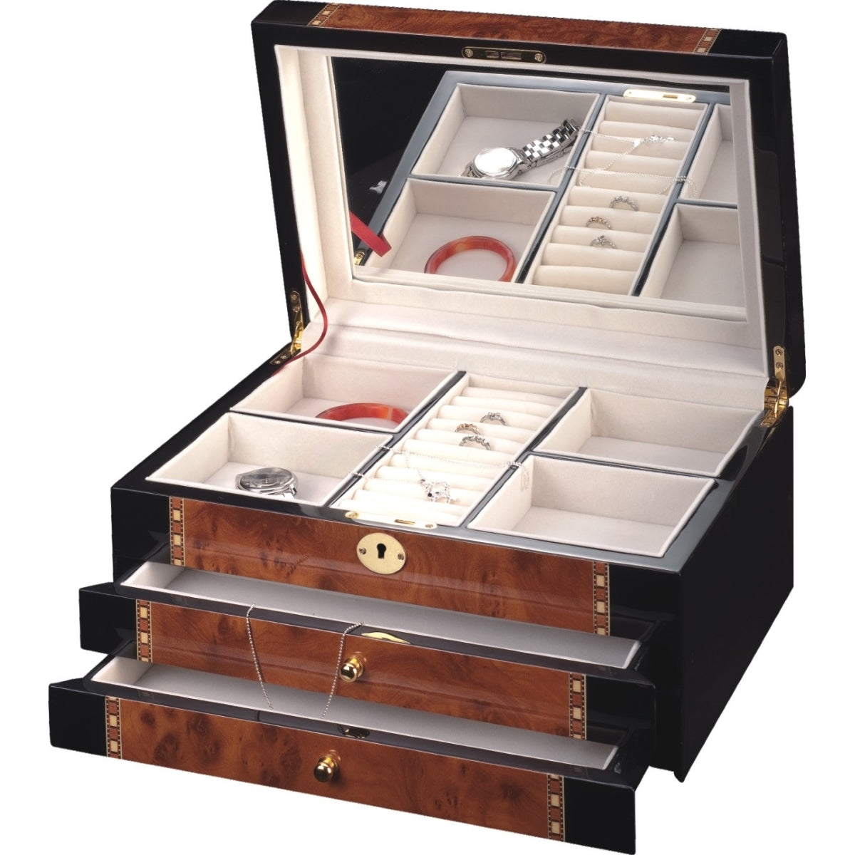 Pearl Time Large 2-Drawer Jewellery Box Piano Black with Brown 35cm Open PJ817A