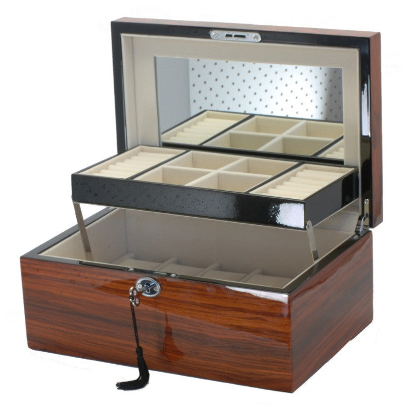 Pearl Time Striped Jewellery And Watch Box Piano Brown Finish 30cm Open PJ620-4