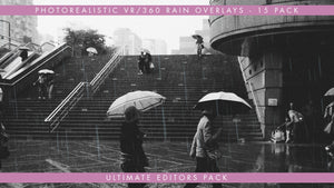A premium collection of photorealistic VR360 rain overlays