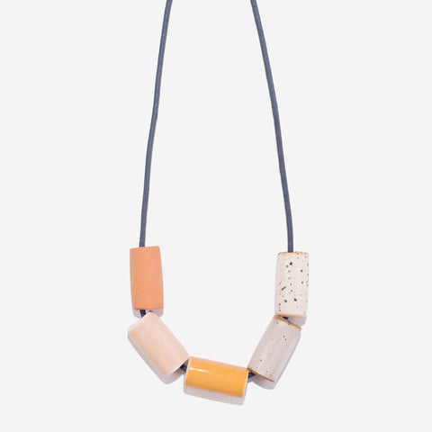 Ceramic Necklace - Blush and Mustard - City Bird