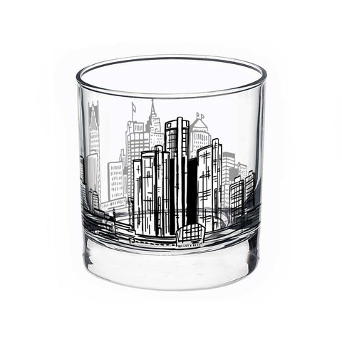 Detroit Skyline Rocks Glass - City Bird