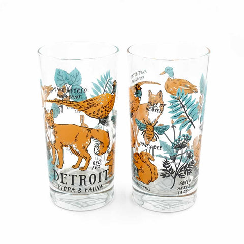 Detroit Flora and Fauna Glass - City Bird