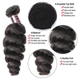 Grade 8A Malaysian Loose Wave Virgin Hair - 4Pcs/Lot
