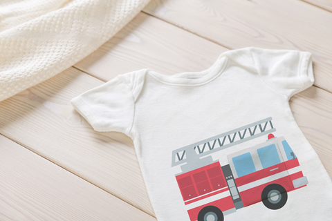 Firetruck - Tubesies g-tube baby Bodysuit, adaptive appearal for infants and toddler. G-tube access clothing, baby garment for g-tubes.