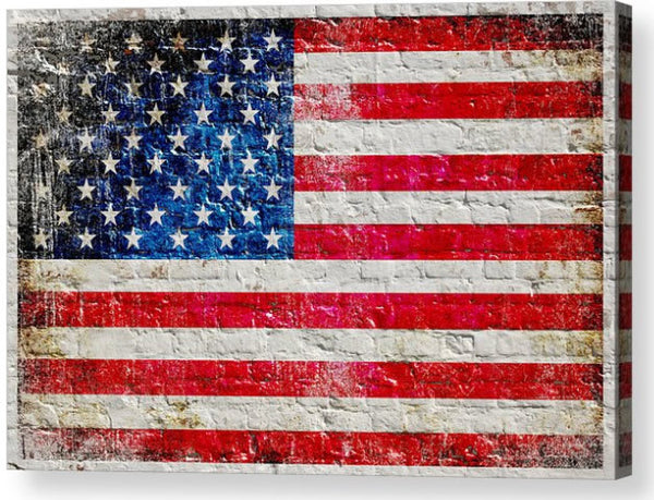 American Flag on White Washed Brick Wall Horizontal Print on Canvas