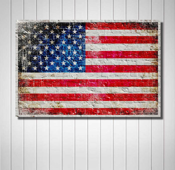 American Flag on White Washed Brick Wall Horizontal Print on Canvas Hung on Wall