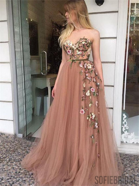 A-line Sweetheart Embroidery Long Blush Tulle Prom Dresses, PD0076