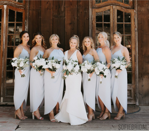Newest Halter Sweetheart Short Bridesmaid Dresses With Split, BD1023