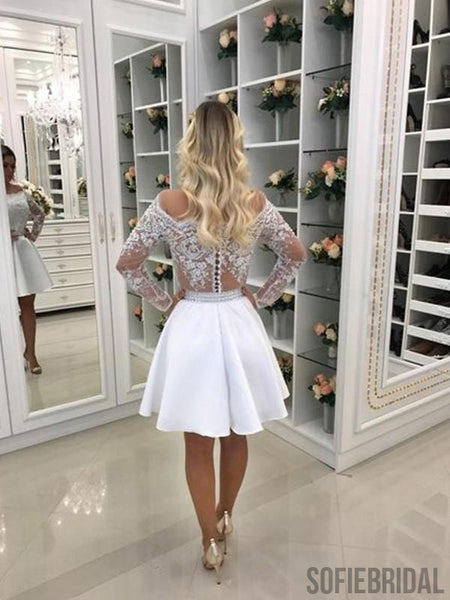 A-line Off-shoulder Long Sleeves Lace Beading Homecoming Dresses, HD0109