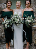 A-Line Off-shoulder Ruffles Dark Green Bridesmaid Dresses, BD1024