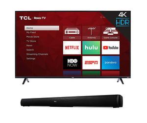 TCL 43 Inch Or 50 inch 4K Smart LED Roku TV (2019) with Home Theater Sound Bar