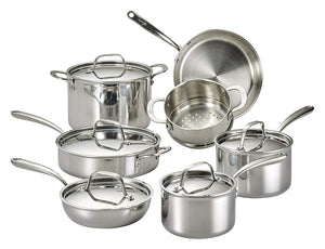 12-Piece Lagostina Stainless Steel Multiclad Dishwasher Safe Cookware Set