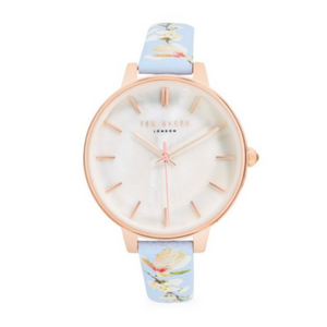 Ted Baker London Floral Leather-Strap Watch