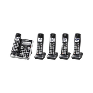 5 Handset Panasonic Link2Cell Bluetooth Cordless Phone System with Voice Assistant