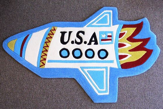 Rocket Rug: Hand Tufted and Hand Carved