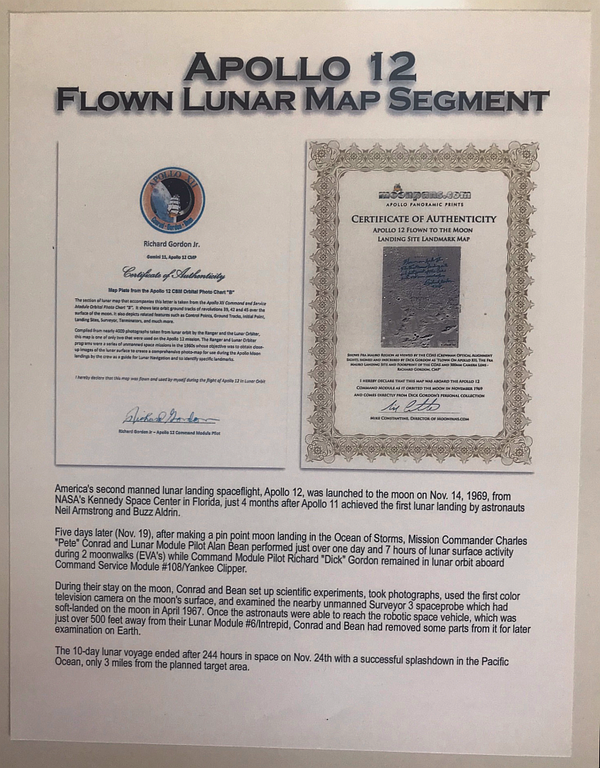 APOLLO 12 FLOWN LUNAR MAP SEGMENT - The Space Store