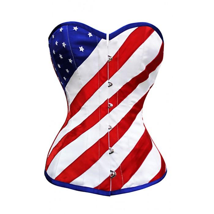 Corset-American Country Flag NaughtySmile by Organic Corset Co