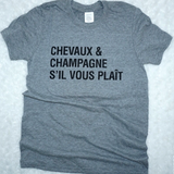 Chevaux & Champagne T-Shirt - Gray & Bay Horse Co.