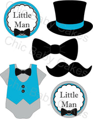 Little Man Diaper Cake Topper Decoration, Turquoise and Gray
