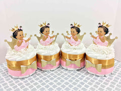 Princess Mini Diaper Cake Set - Pink, Gold