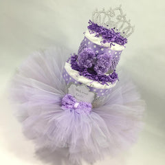 Tutu Princess Diaper Cake Centerpiece - Purple, Silver