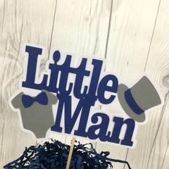 Little Man Cake Topper - Navy, Gray