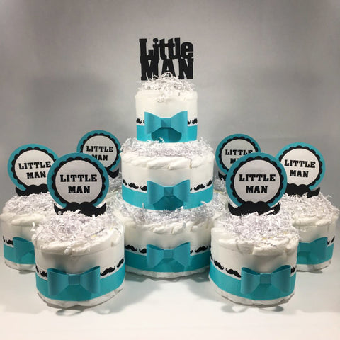 Little Man Diaper Cake Centerpieces - Teal, Black