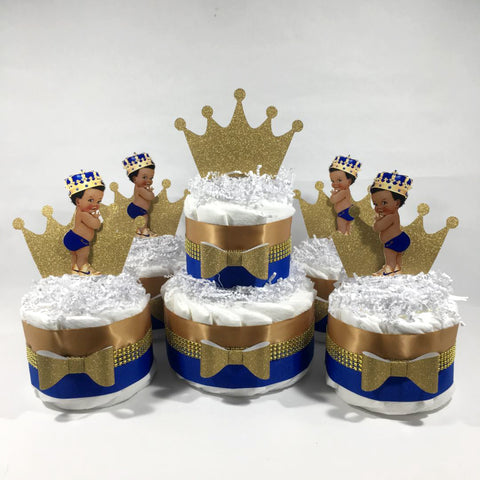 Little Prince Diaper Cake Set - Blue, Gold