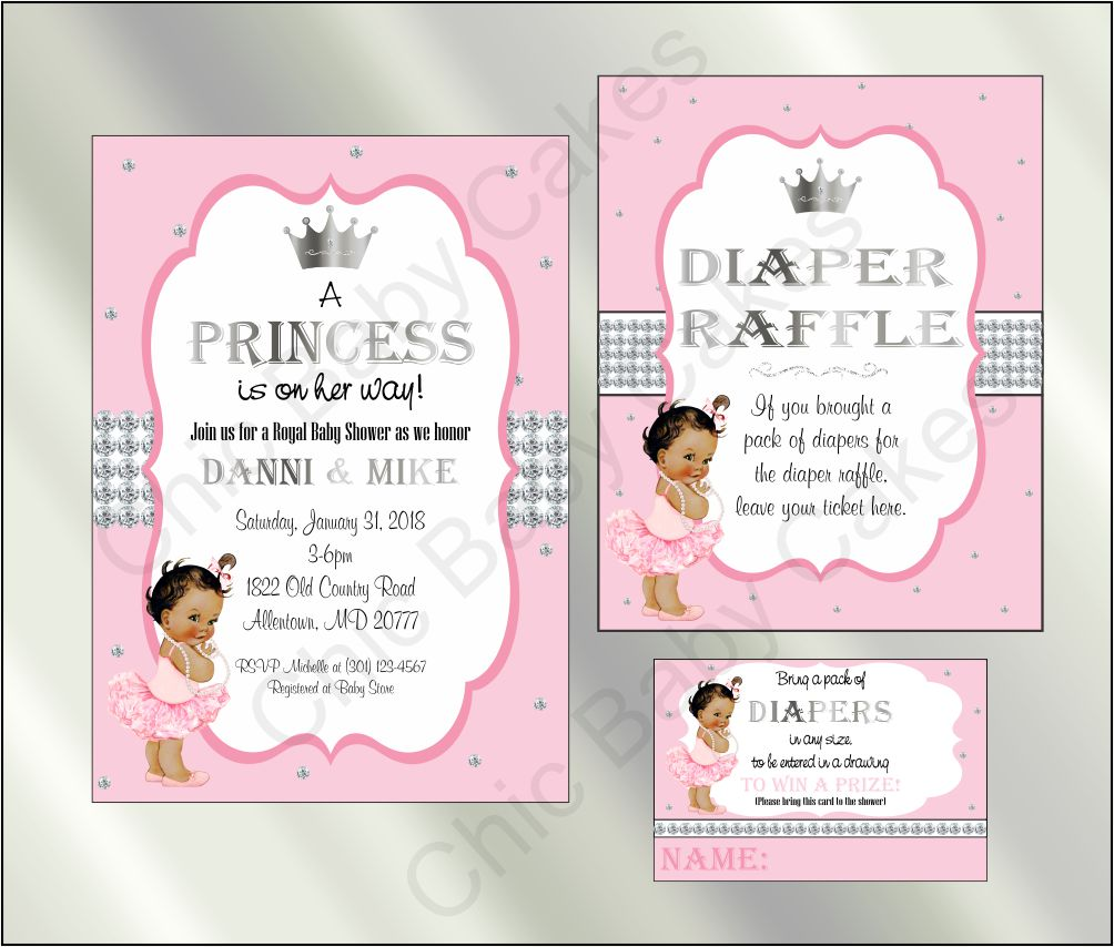 Princess Baby Shower Invite and Diaper Raffle, Pink & Silver, Brown