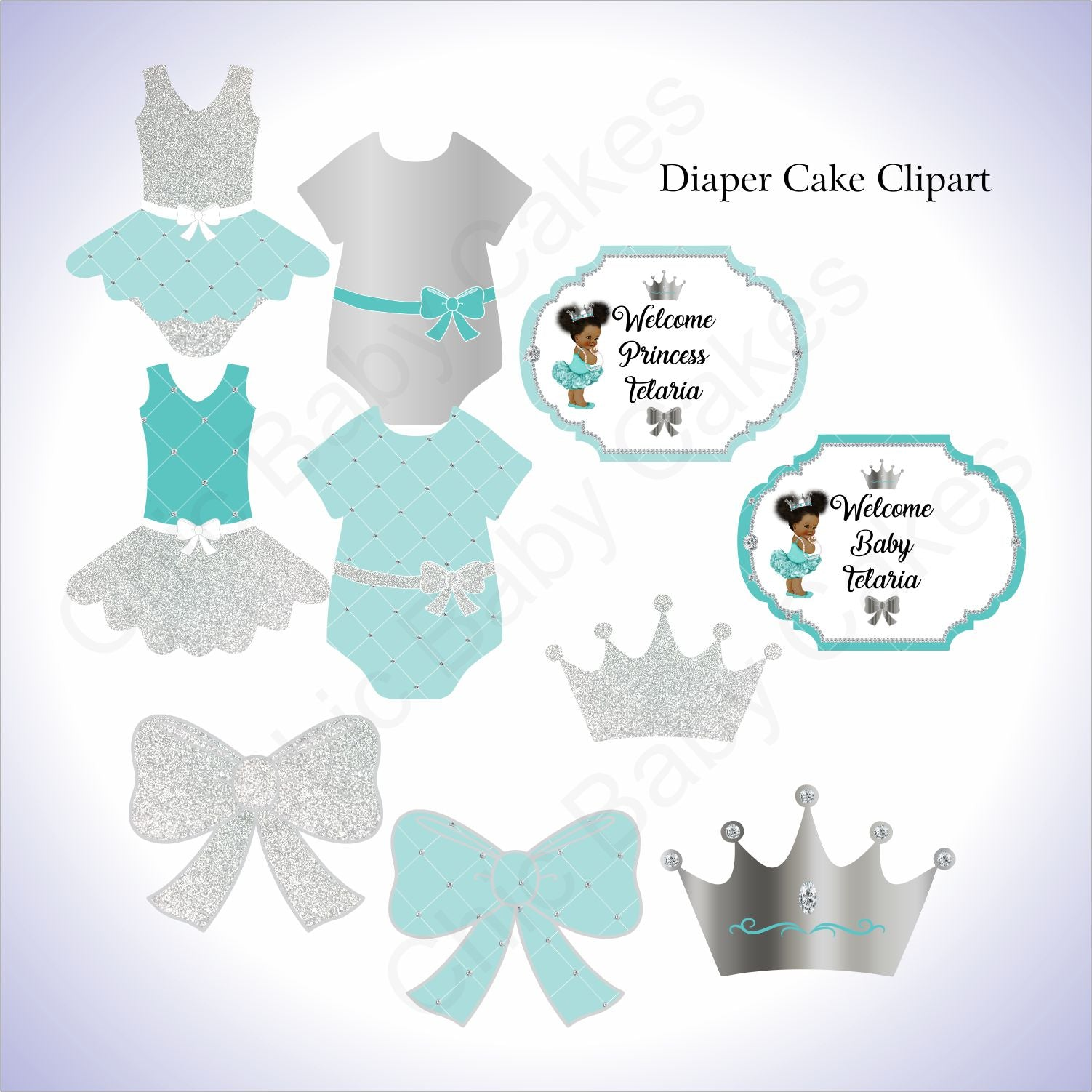 Little Princess Clipart - Teal, Silver
