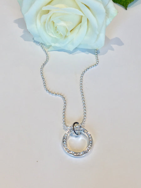 Short Ball chain Necklace with Diamante hoop Pendant