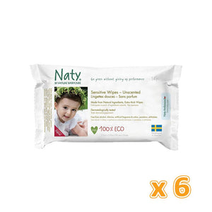 Naty Unscented Wipes(6 x 56 Pcs) - Sanadeeg