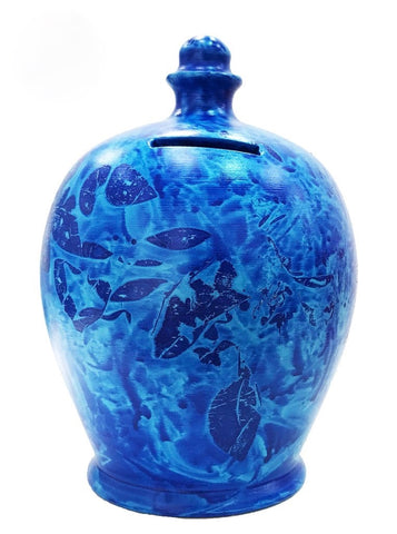 Terramundi Money Pot Charmed Blue With Pale Blue  - B89
