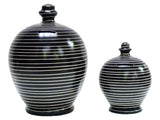 Deluxe Stripe Money Pot Black with White - BP3