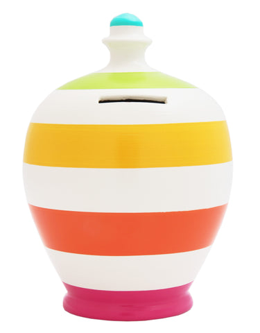 Terramundi Money Pot Stripe White with Multi Colours - B4
