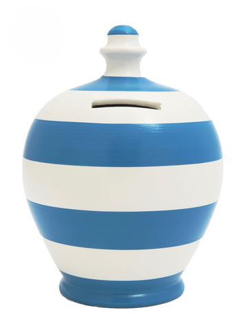 Terramundi Money Pot Stripe 'Football' Blue and White - D5
